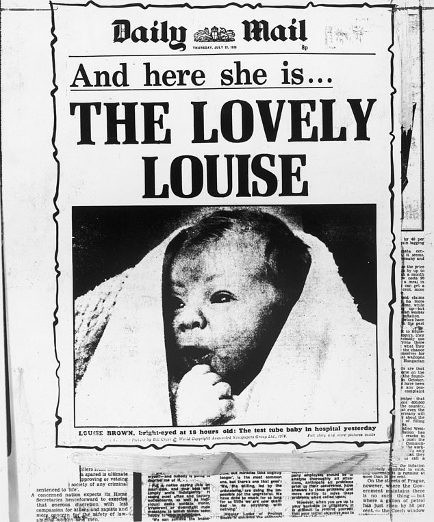 The Daily Mail front page in 1978 celebrating the birth of Louise Brown