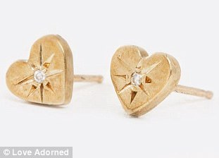 Yellow Gold Classic Heart Studs with Diamonds by Scosha, $240; loveadorned.com