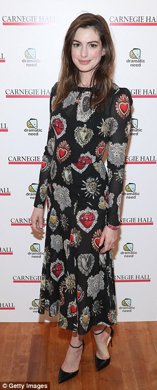 Heidi Klum looked sophisticated chic in an Alice + Olivia frock, while Anne Hathaway wore a Dolce & Gabbana heart-printed midi dress
