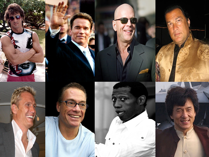 Examples of actors who have played male action heroes:Row 1: Sylvester Stallone · Arnold Schwarzenegger · Bruce Willis · Steven SeagalRow 2: Dolph Lundgren · Jean-Claude Van Damme · Wesley Snipes · Jackie Chan